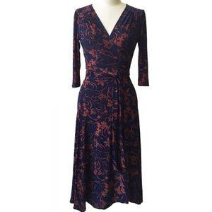 Karina Dresses Maggie/Megan S/M Navy Tan Leaves